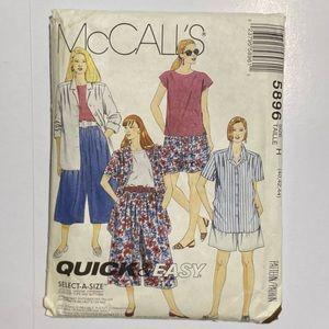 1992 McCall's Women's Top and Split Skirt Pattern